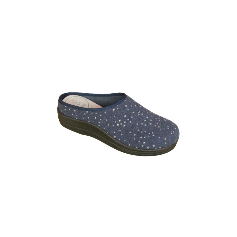 Kék színű női szegett házipapucs kivehető, cserélhető talpbetéttel